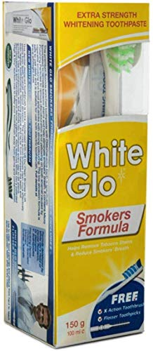 White Glo Smokers Formula Whitening Toothpaste 150g & Toothbrush (with Sanitral 50 Pcs Dental Floss Stick Included as a Gift)