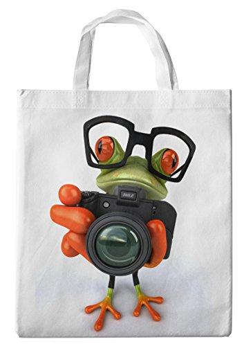 Merchandise for Fans Einkaufstasche- 38x42cm, 8 Liter - Motiv: 3D Comic Frosch Mit Fotoapparat - 38