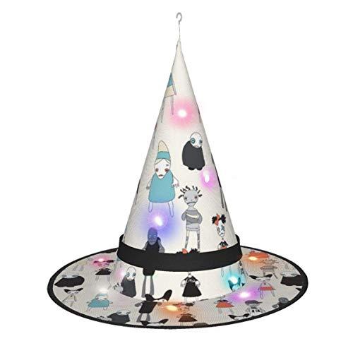 leyhjai Decoraciones de Halloween Sombrero de Bruja, Zombies en Movimiento Crema Colgante Iluminado Sombrero de Bruja Brillante Gorra Puntiaguda para Adultos y niños