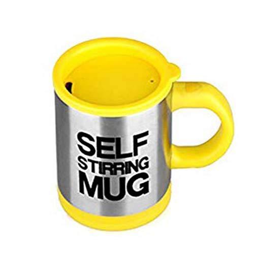 Zeerkeer Self Stirring Mug, Tazas de Café Portable Acero Inoxidable,Taza de Auto-agitación para el Café/Leche/Té, Office Home Travel Gift (Amarillo)
