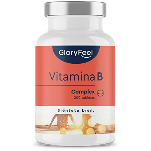 Vitamina B Complex - 200 Tabletas veganas (Suministro para 6+ meses) - Solo 1 al día - Contra el agotamiento mental y el estrés - Dosis altas de B1 B2 B3 B5 B6 B7 (biotina) B9 (acido folico) y B12