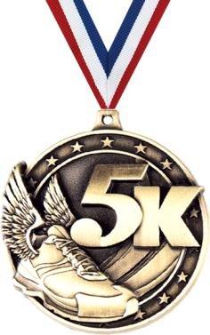 5K Medals - 5K Winged Running Shoe Race Medal Award Prime