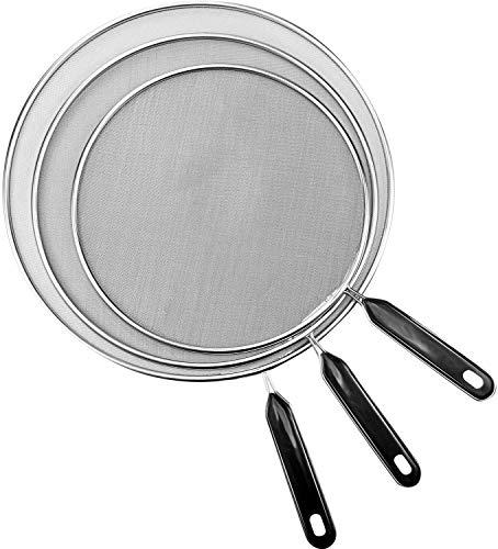 Splatter Screen for Cooking,Grease Splatter Screens for Fryling Pan Frying Pan Cover Splatter Screen 3 Set(8',11.5',13'), Fine Mesh Stainless Steel Guard from Hot Oil Splash (Black)