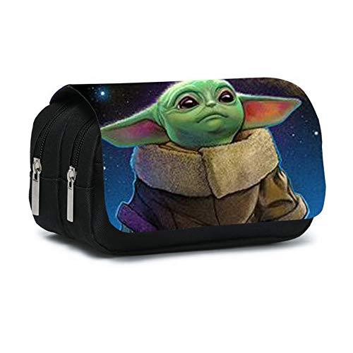 Yoda Star Wars, Astuccio in PVC con Cerniera, Portapenne per Cancelleria di Grande Capacità, Borsa con Cerniera Sandwich, 20 * 10 * 7,5 cm, 130 g