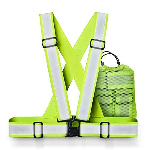 Xcelenze – Warnweste Fahrrad maximale Reflektoren Fläche | Warnweste Kinder Erwachsene | Warnweste Laufen | Reflektorband Sicherheitsweste Reflektorweste Fahrradweste Leuchtweste Kinderwarnweste