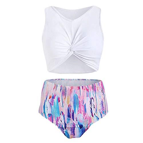 BSbattle 2020 Sommer Frauen Badeanzug Frauen Federdruck Bikini Set Twists Front Push Up Gepolstert Tankini Badeanzug Badeanzug - Weiß - XX-Large