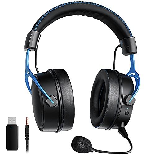 2.4G Cuffie Gaming per PS5 PS4 PC, Stereo 3D, Microfono con cancellazione del rumore, Dongle USB(cablato opzionale), Cuffie da gioco con struttura in metallo per Xbox Switch Mac Laptop, Blu