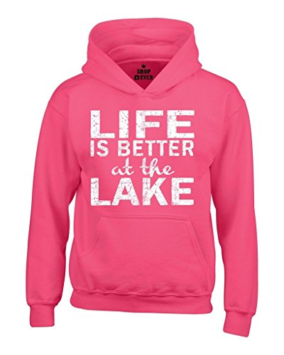 Shop4Ever Life is Better at The Lake Hoodies Sayings Sweatshirts Large Heliconia Pink 0