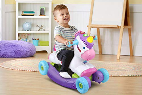 VTech Rock and Ride Unicorn Baby Ride On Toy, Interactive Baby Musical Toy with Learning and Sound Features, First Steps Walking Support for Babies & Toddlers from 18 Months