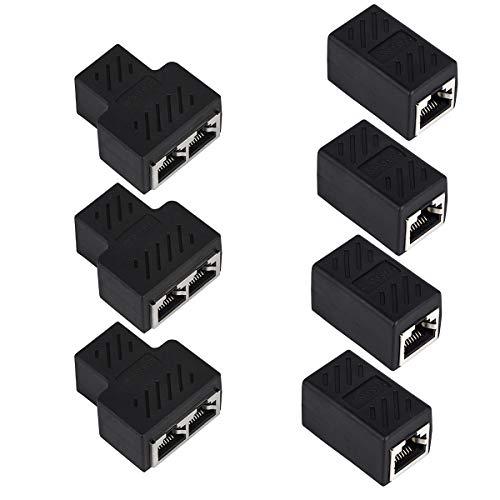Dadabig 7 Stück RJ45 Ethernet Kabel Verbinder, Netzwerkkabel Patchkabel Kupplung Modular Adapter Buchse 1 bis 2 Dual Female Port LAN Kabel Connector für CAT5/CAT6 Schwarz
