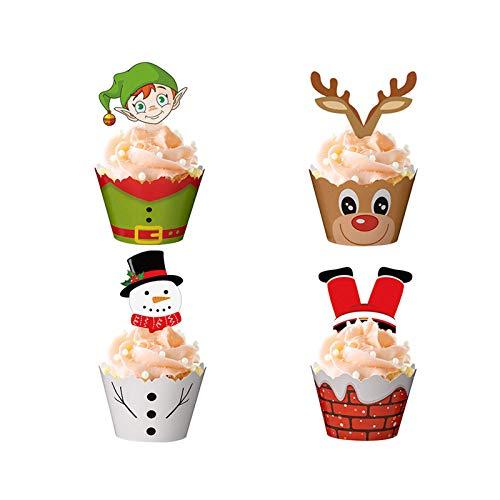 Mirrwin Muffin Förmchen Papier Muffinförmchen Weihnachten Kuchen Papier Tasse Wrapper für Weihnachten Schneemann Weihnachtsmann Rentier Elf für Kinder Geburtstag Party Hochzeit Kuchen Deko 48 Stücke