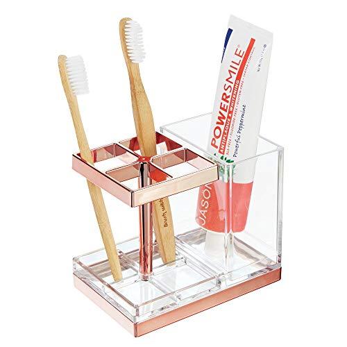 mDesign porte brosse à dent autoportant en plastique – support brosse à dent pour 4 brosses et dentifrice – range brosse à dent et compartiment pour produits dentaires – transparent/couleur or rouge