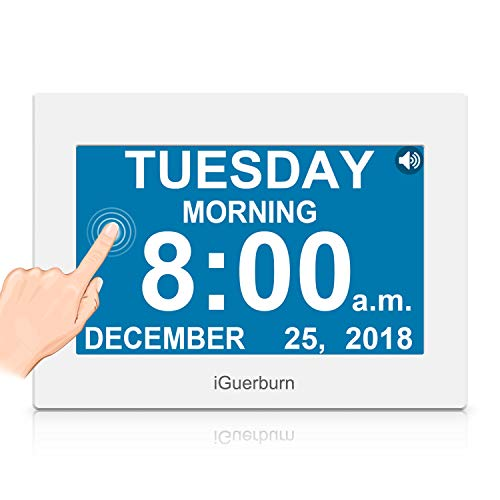 "iGuerburn Talking Night Day Clock 8"" Large Display with Touchscreen for Dementia Seniors Alzheimer's Elderly Visually Impaired Memory Loss Digital Calendar with Date and Time 8 Alarms Manual Dim"