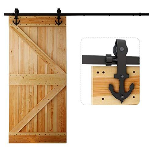 5FT/152CM Herraje para Puerta Corredera Kit de Accesorios para Puertas Correderas Juego de Piezas,Forma Anchor,negro