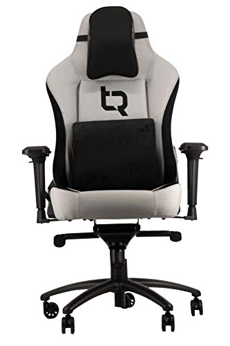 Turismo Racing Evoluzione Gaming Chair with Vaporweave Fabric and Memory Foam Cushioning - Ivory Grey - Extra Large for Big Guys