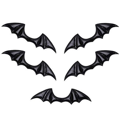 LUOEM 5Pcs Halloween Fledermaus Flügel Charme Glänzendes Leder Handwerk Flügel Ornamente DIY Handgemachtes Material für Schuh Haarnadel Stirnband (Schwarz)