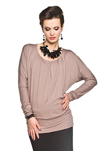 Torelle Damen Umstandsshirt mit Stillfunktion, Modell: Tonia, Langarm, Cappucino, M