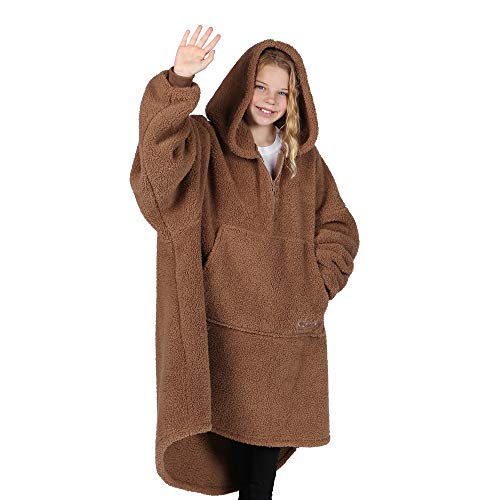 THE COMFY Teddy Bear Quarter Zip | Oversized All Sherpa Wearable Blanket with Zipper One Size Fits All Seen On Shark Tank