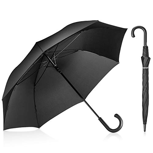 Leebotree Stick Umbrella, Auto Open Windproof Umbrella with 51 Inch Large Canopy Waterproof and J Handle for Men Women (Black)