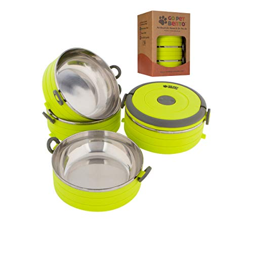Healthy Human Portable Dog & Pet Travel Bowls with Lid - Human Grade Stainless Steel - Ideal for Food & Water - Green - 4 Bowl Set