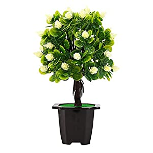 Fake Plants Artificial Flowers Potted Bonsai DIY Statement for Stage Garden Home Party Decor Photo Props White