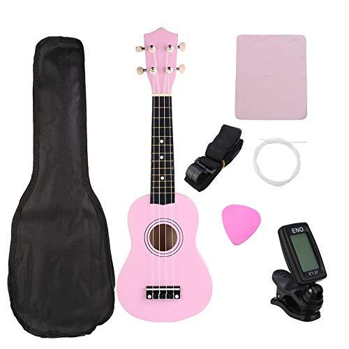 Ukulele 21 Zoll Pink Sopran Basswood Ukulele Uke Hawaii Bassgitarre Guitarra Musikinstrumente Set Kits + Stimmgerät + Saiten + Gurt + Koffer
