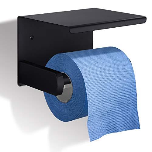 GEMITTO Portarrollos Baño Acero Inoxidable SUS304 Soporte para Papel Higiénico con Estante de Almacenamiento, Porta Rollos para Baño Plata Tubo Redondo Negro Tubo Redondo
