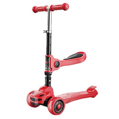 Dzwyc Scooter Scooter Anti-Rollover para niños pequeños Scooter, Altura Ajustable Magro para dirigir para niños niños y niñas de 3 a 10 años Patinetes (Color : Red)