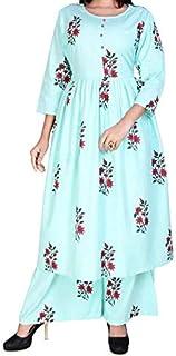 Marwar Women's Cotton Kurti with Palazzo Set Salwar Suit (Light Blue)