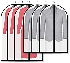 Veoley Garment Bags 6 Pack 24-Inch x 40/47-Inch Moth-proof Waterproof Foldable Dust-proof Suit Bags with Full Zipper for Suits, Dress, Coat, Shirts, Jackets Storage and Travel - Black