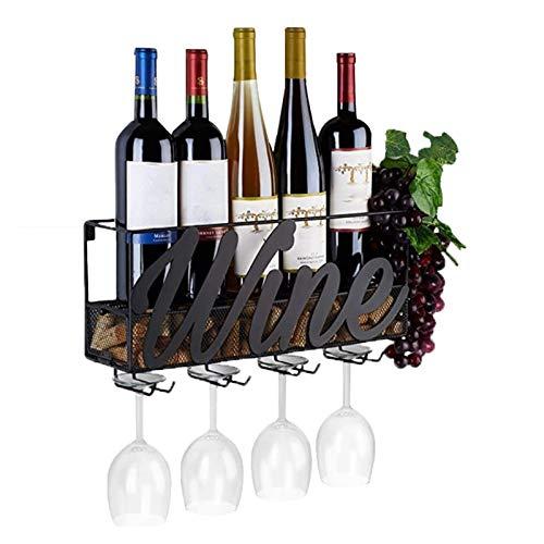 Botellero de Vino Estante de vino montado en la pared, 17.71x5.12x8.66 pulgadas 4 Copa de vino incorporada Topes de vinos de metal Montado en la pared Estante de champán con bandeja de corcho extra
