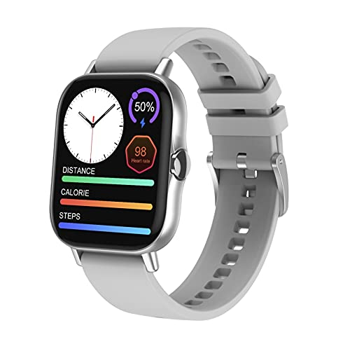 FOABHLI Smart Watch For Women/Men 1.78inch HD Screen IP67 Waterproof, Bluetooth Receive/Make Calls, Health Monitoring Fitness Tracker Pedometer Compatible Android IOS (Color : Silver)