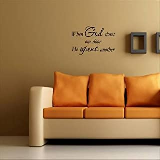 Dailinming PVC Wall Stickers WHEN GOD CLOSES ONE DOOR Wall quotes decals lettering 56X20CM