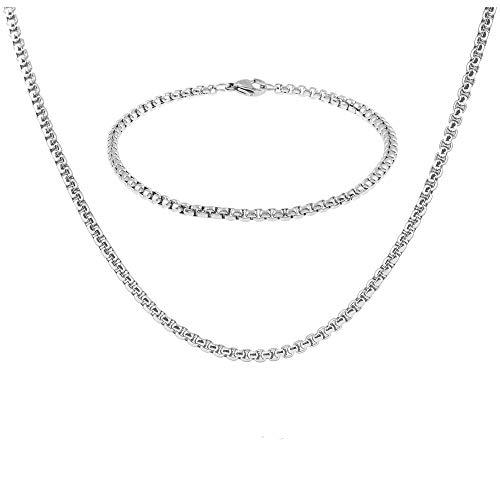 Styleziel 1849 Sieradenset voor dames en heren, halsketting, armband, jasseronketting, zilver, roestvrij staal, byzantijnse ketting, 60 cm lang