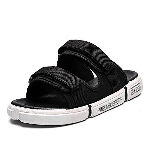 MLLM Edema Hinchen Wide Wide Shoes, Magic puesto en los zapatos de playa, sandalias casuales y zapatillas-Negro y blanco_45, Zapatillas de pies hinchados
