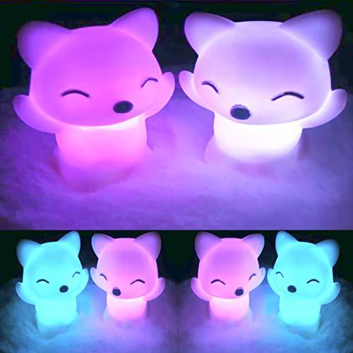 Luz de noche 7 colores cambiantes, bonita forma de zorro LED luz nocturna LED luz LED luz de botón batería decoración del hogar