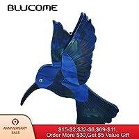Blucome ファッションブルーイーグルツバメの形のブローチナチュラルテクスチャアクリルピンジュエリーのための女性の帽子スカーフコートアクセサリーブローチ パーツ