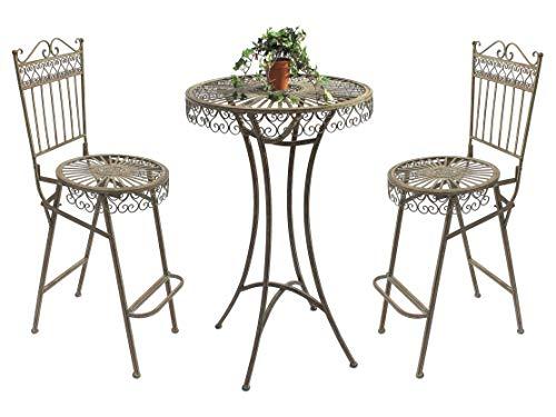 DanDiBo Stehtisch + 2 Barhocker Set Metall 130414-15 Bartisch Garten Antik Schmiedeeisen Bistrotisch Gartentisch Gartenmöbel