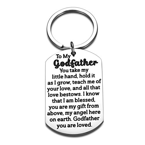 Godfather Thank You Gifts Keychain for Godfather Godparents Uncle Birthday Christmas Blessings Gifts from Godchild Goddaughter Godson Baptism Christening First CommunionFather's Day Gifts for Men Him