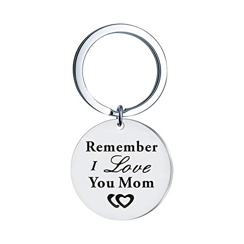 Engraving Stainless Steel Keychain Keychain - Remember I Love You Mom Theme Keychain Teachers' Day Gift Pendant Keychain Gift Key Ring Key Chain Key Tag Car Key Accessories