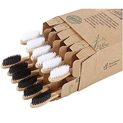 Bamboo Charcoal Toothbrush - Natural Biodegradable And Organic With 100% Eco Friendly BPA Free Bristles Smooth Wood Handle And Zero Waste Packaging - Pack Of 12 Wooden Vegan Toothbrushes – BAMBOEARTH