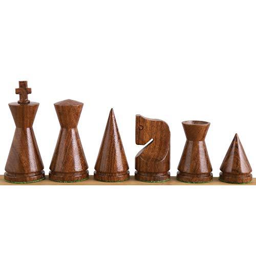 RoyalChessMall - Juego de piezas de ajedrez minimalista de Poni ruso de 3 pulgadas, palisandro dorado y boj