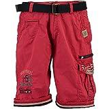 Geographical Norway - Bermudas para hombre con bolsillos con logotipo rojo S