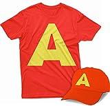 Photo de Allover - T-shirt pour enfant, manches courtes, col rond, couleur rouge avec un grand A comme Alvin imprimé - Casquette offerte - Rouge - 9-11 ans