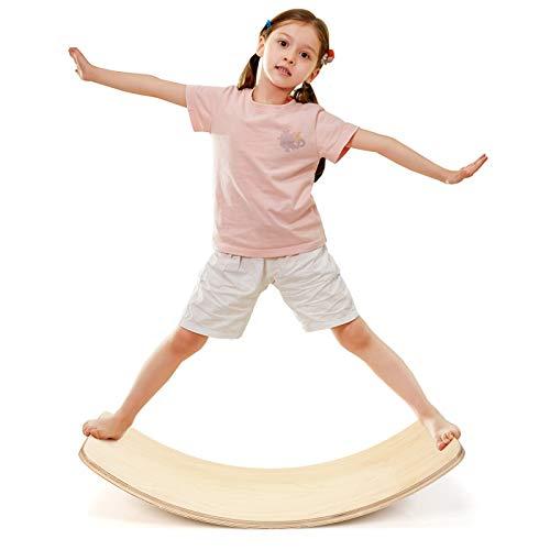 COSTWAY 90 x 30cm Balance Board, Balancierbrett aus Holz, Wackelbrett bis 220kg belastbar, Kurviges Board für Kinder und Erwachsene