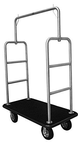 Monarch Carts Stainless Steel Hotel Luggage Cart Bellman Cart Trolley Service MCL207S