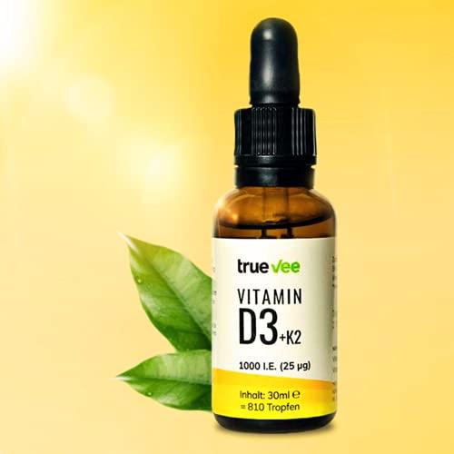 Vitamin D3 + K2 (MK7 all-trans) vegan | 1000 IE | mit Bio-Olivenöl | 100{a5c336d1fa42df976d2e2014c108eb945c143bae7d25c580f2bcf1ad8f281f3d} pflanzlich (kein Lanolin) | Hochdosiert | 400 Portionen | Keine Zusätze | True Vee
