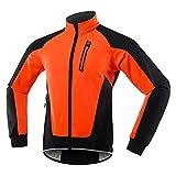 TSMALL Chaqueta de Ciclismo cálida térmica de Invierno Reflectante para Hombre, Ropa de Ciclismo Impermeable a Prueba de Viento, Chaqueta de Bicicleta, Abrigo MTB,Naranja,XXL