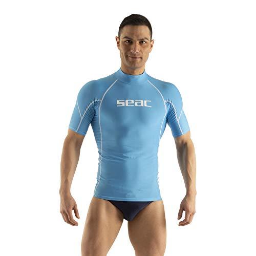 SEAC RAA Short Evo Uomo Maglia Protettiva Rash Guard per Snorkeling e Nuoto Anti UV, Azzurro, L