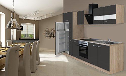 respekta Inbouw keuken kitchenette 300 cm eiken Sonoma grijs ruw gezaagd incl. koel-vriescombinatie & keramische veld